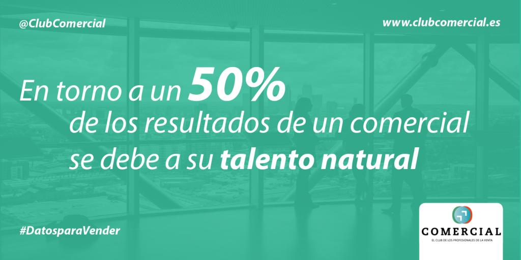 En torno a un 50% de los resultados de un comercial se debe a su talento natural